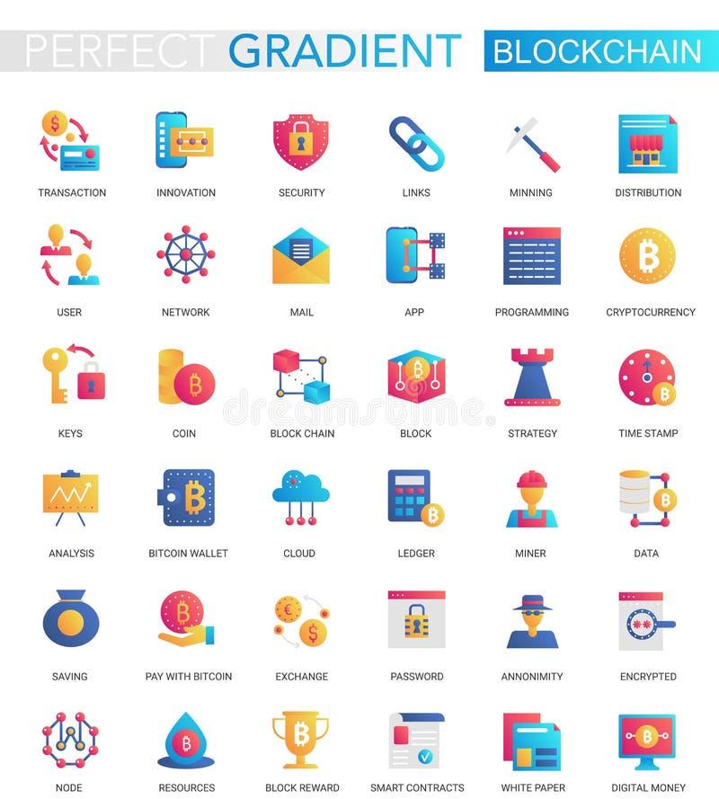El vector fijó de los iconos planos de moda de Blockchain Cryptocurrency de la pendiente libre illustration