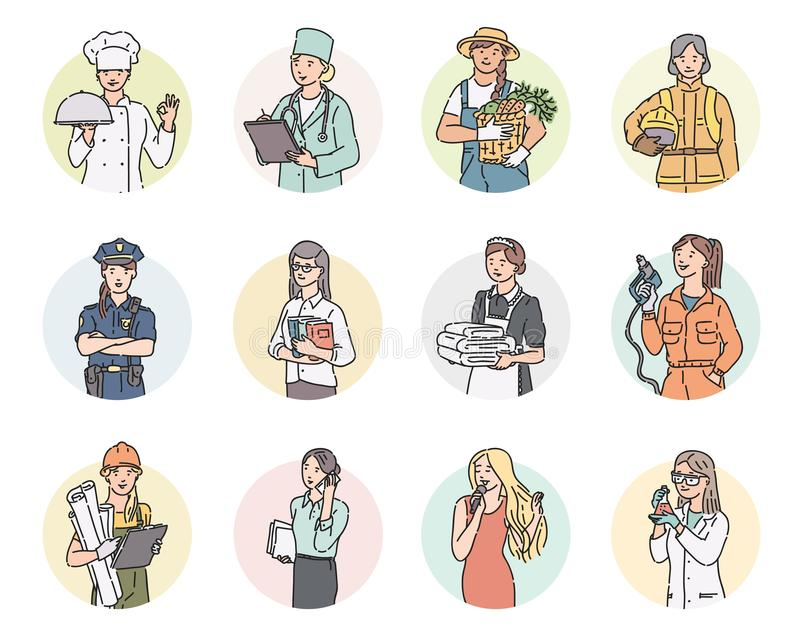 El vector fijó diversas profesiones de las mujeres redondas del icono Ejemplo de la gente del Día del Trabajo en la línea estilo  stock de ilustración