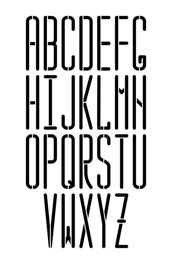El vector fino de la plantilla monospace la fuente de sans serif con el corne redondeado stock de ilustración