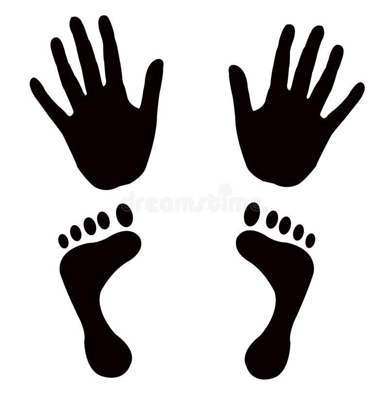 El vector forma pies de las manos libre illustration