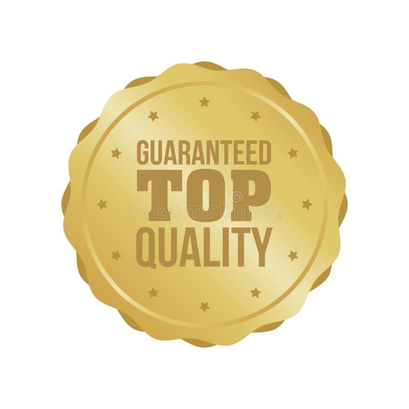 El vector garantizó la muestra de calidad superior del oro, etiqueta redonda ilustración del vector