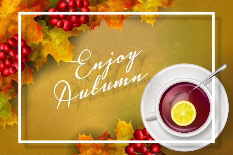 El vector goza de la tarjeta del otoño stock de ilustración