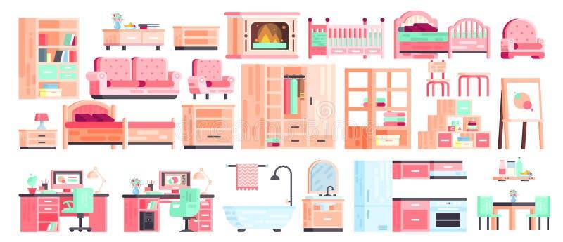 El vector grande de la colección del equipo del sistema aisló iconos de los muebles para el interior del cuarto de baño ilustración del vector