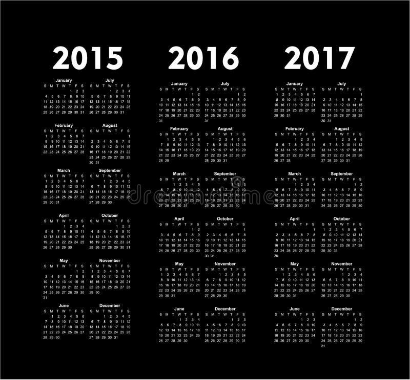 el vector hace calendarios 2015 2016 2017 años stock de ilustración