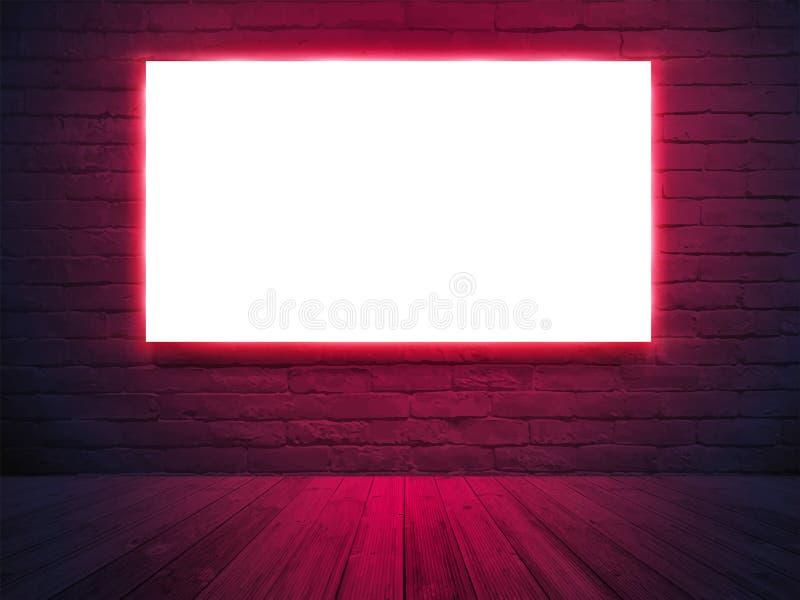El vector iluminó la pantalla de la caja de luz con en el fondo de la pared de ladrillo, iluminación de neón ilustración del vector