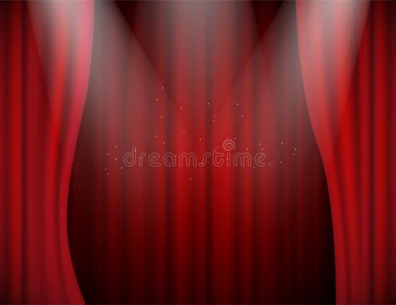El vector iluminó las cortinas abiertas del terciopelo rojo en teatro o sala de conciertos ilustración del vector
