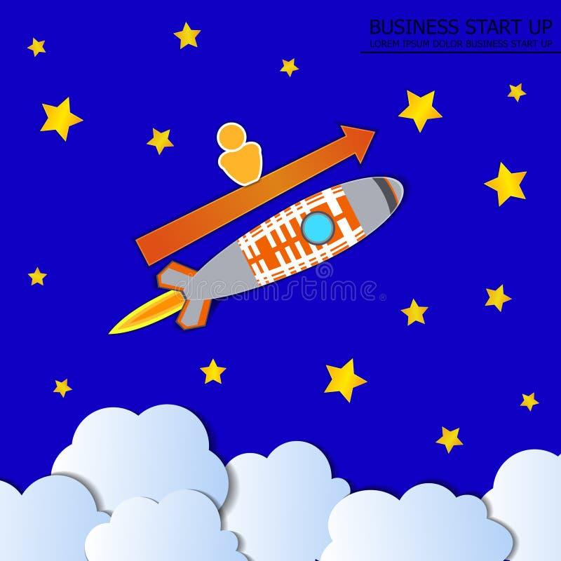 El vector impulsa el ejemplo del negocio, Rocket con el hombre y la flecha, cielo azul con las estrellas ilustración del vector