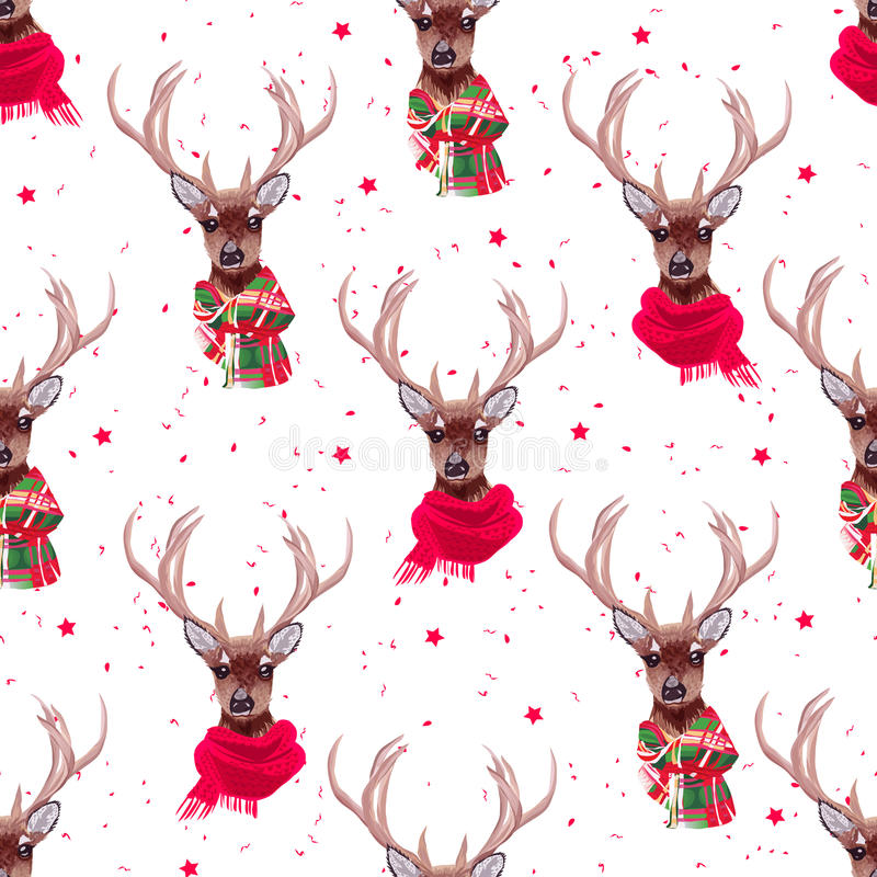 El vector inconsútil de las bufandas del invierno de los ciervos que lleva agraciados imprime ilustración del vector