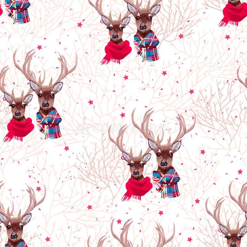 El vector inconsútil de las bufandas del invierno de los ciervos que lleva hermosos imprime stock de ilustración