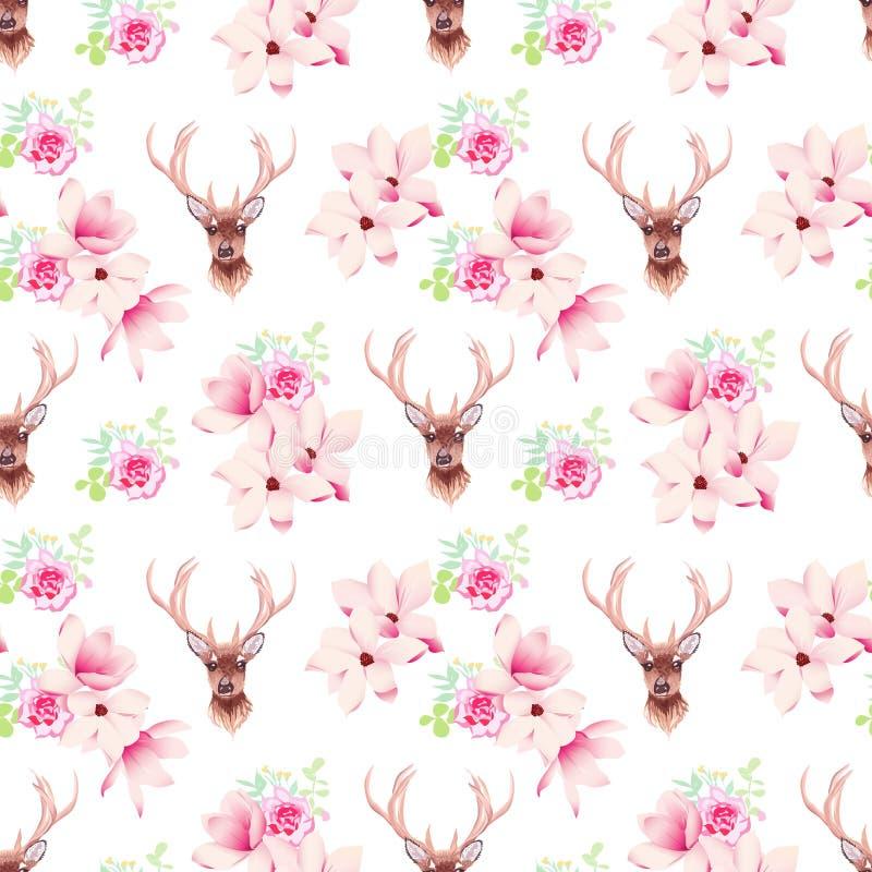 El vector inconsútil delicado de las flores y de los ciervos de la magnolia imprime libre illustration