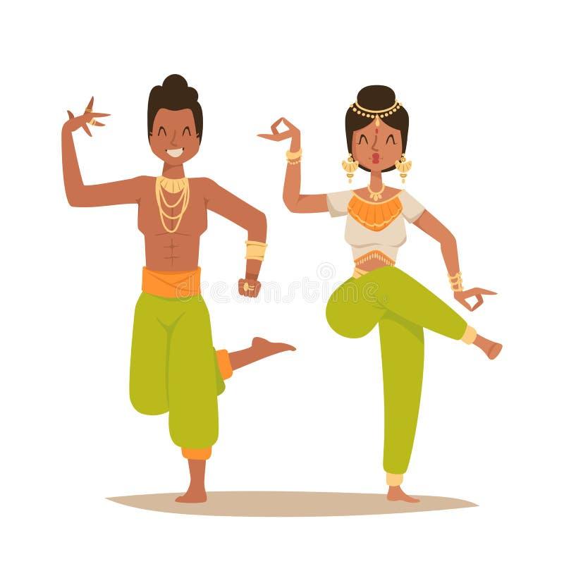 El vector indio del baile del hombre de la mujer aisló la película del partido de la demostración de la danza de la India de la g stock de ilustración