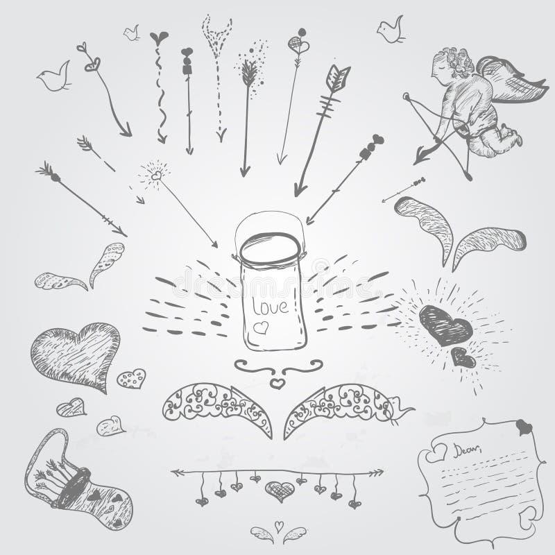 El vector lindo mano-ahoga el sistema del inconformista de amor libre illustration