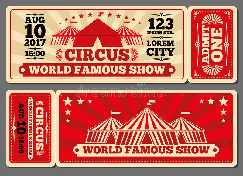 El vector mágico de la entrada de la demostración del circo marca plantillas stock de ilustración