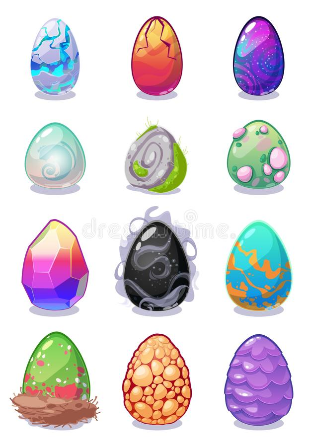 El vector mágico del dragón coloreó los huevos pintados con la colección coloreada multi de los huevos de Dragon Easter del model ilustración del vector