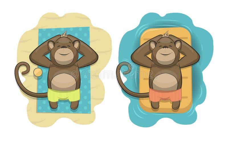 El vector monkeys la relajación en una playa tropical stock de ilustración