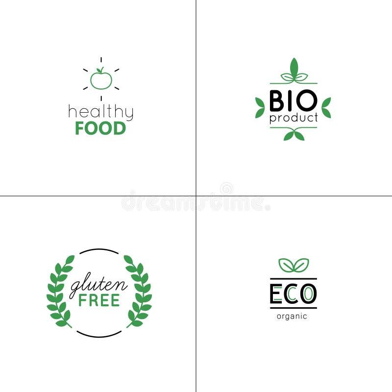 El vector natural y orgánico fijó con las etiquetas y las insignias verdes stock de ilustración