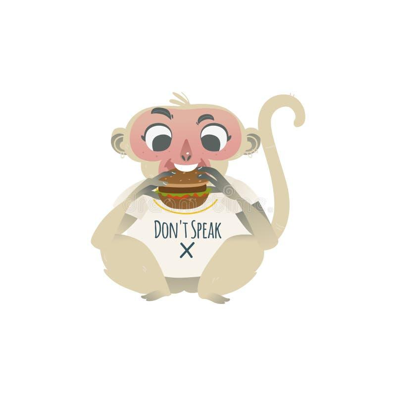 El vector no habla ningún mono malvado que come la hamburguesa grande stock de ilustración