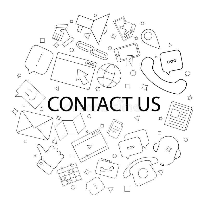 El vector nos entra en contacto con modelo con palabra Éntrenos en contacto con fondo stock de ilustración