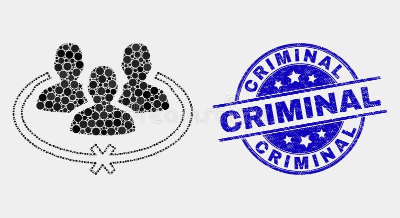 El vector Pixelated encarceló el icono de las personas y el sello criminal del Grunge libre illustration