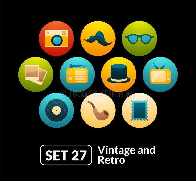 El vector plano de los iconos fijó 27 - colección del vintage ilustración del vector
