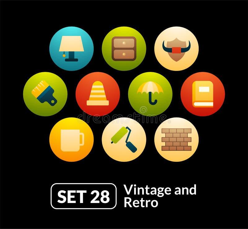 El vector plano de los iconos fijó 28 - colección del vintage libre illustration