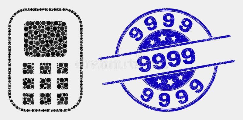 El vector punteó el icono del teléfono móvil y rasguñó la filigrana 9999 libre illustration