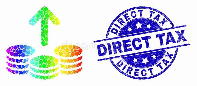 El vector que Pixelated espectral pasa acuña el icono y el sello rasguñado del impuesto directo ilustración del vector