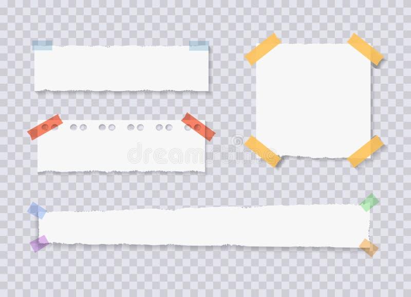 El vector rasgado afila las hojas de papel, etiquetas engomadas atadas de la nota, ejemplos fijados imagen de archivo libre de regalías