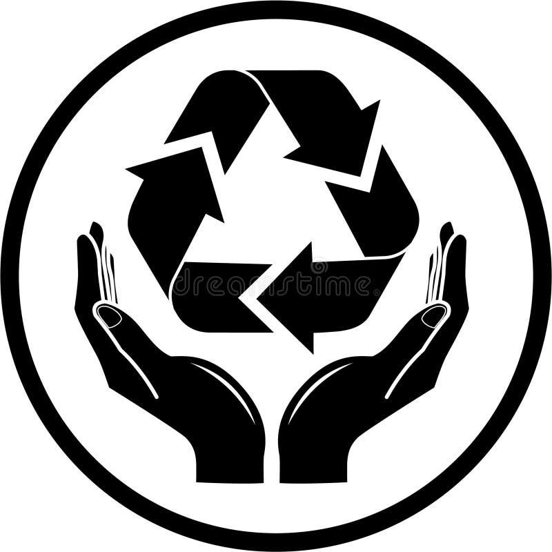 El vector recicla símbolo en icono de las manos stock de ilustración
