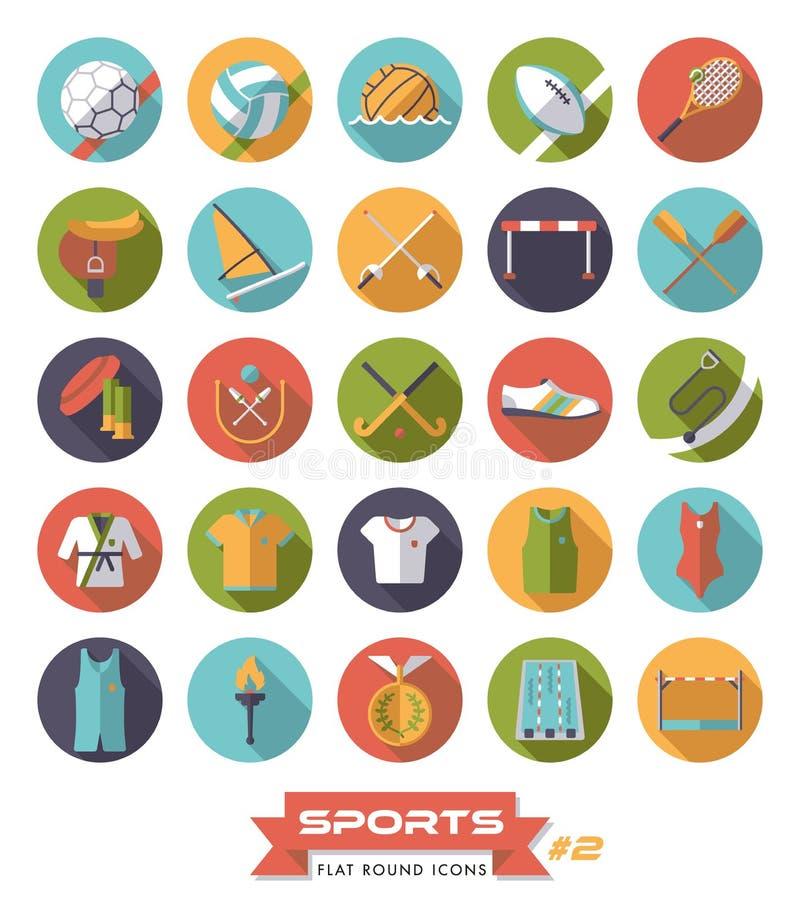 El vector redondo de los iconos del diseño plano de los deportes fijó 2 ilustración del vector