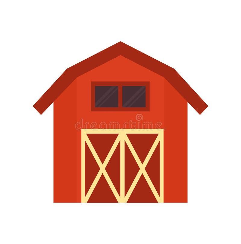 El vector rojo del edificio del granero aisló el ejemplo ilustración del vector