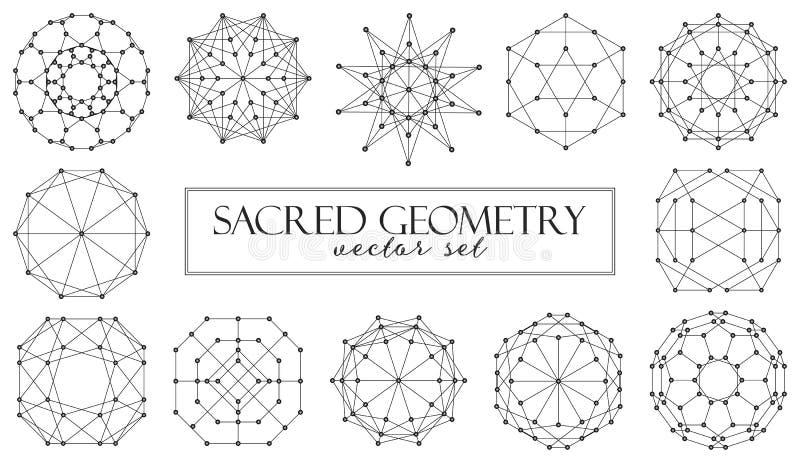 El vector sagrado de los elementos del extracto de la geometría fijó en el fondo blanco stock de ilustración