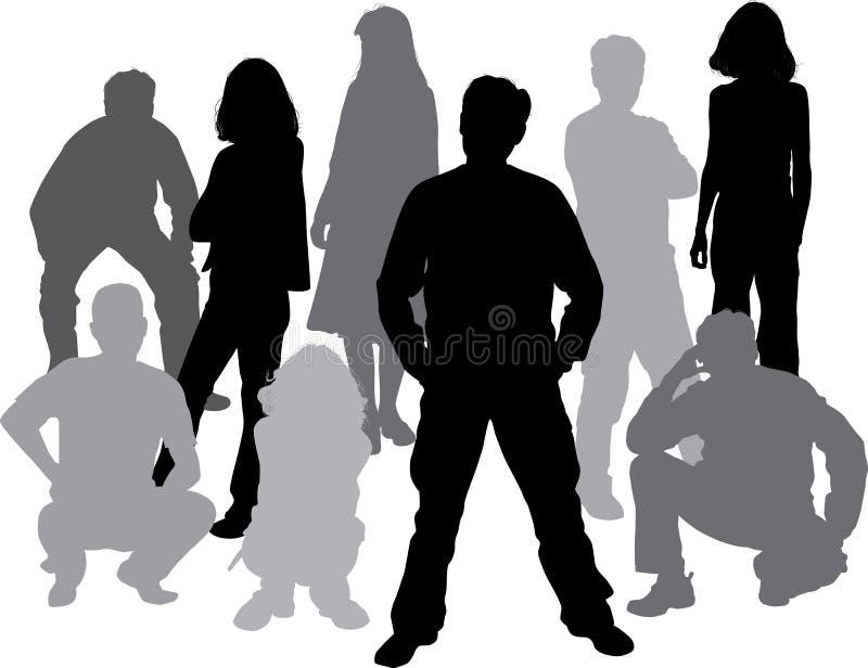 El vector siluetea a amigos (hombre y las mujeres) stock de ilustración