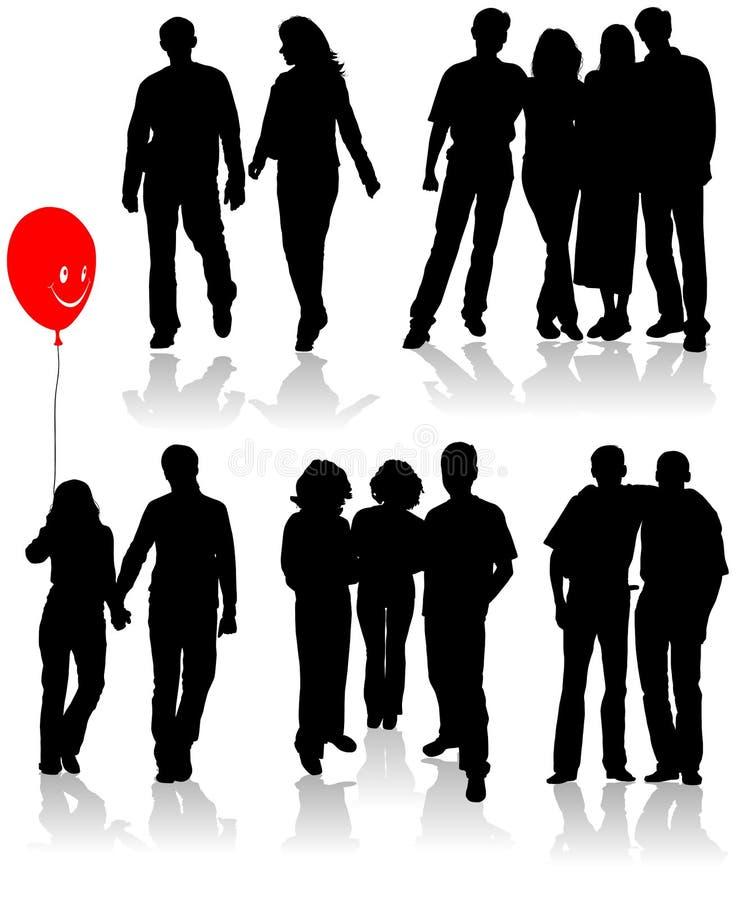 El vector siluetea a amigos (hombre y las mujeres) ilustración del vector