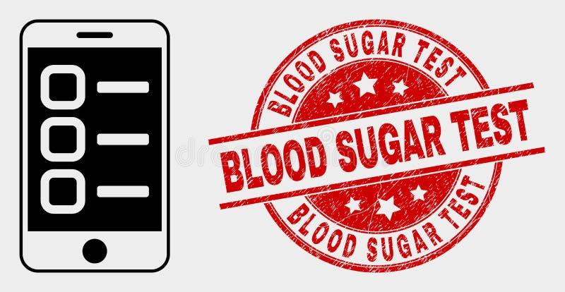El vector Smartphone encarga a la sangre Sugar Test Stamp Seal del icono y del Grunge libre illustration