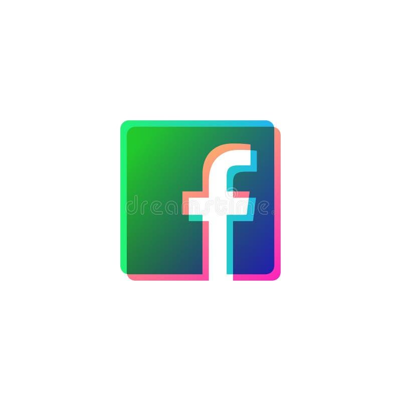 el vector social del logotipo de los medios del s?mbolo del icono del facebook aisl? stock de ilustración