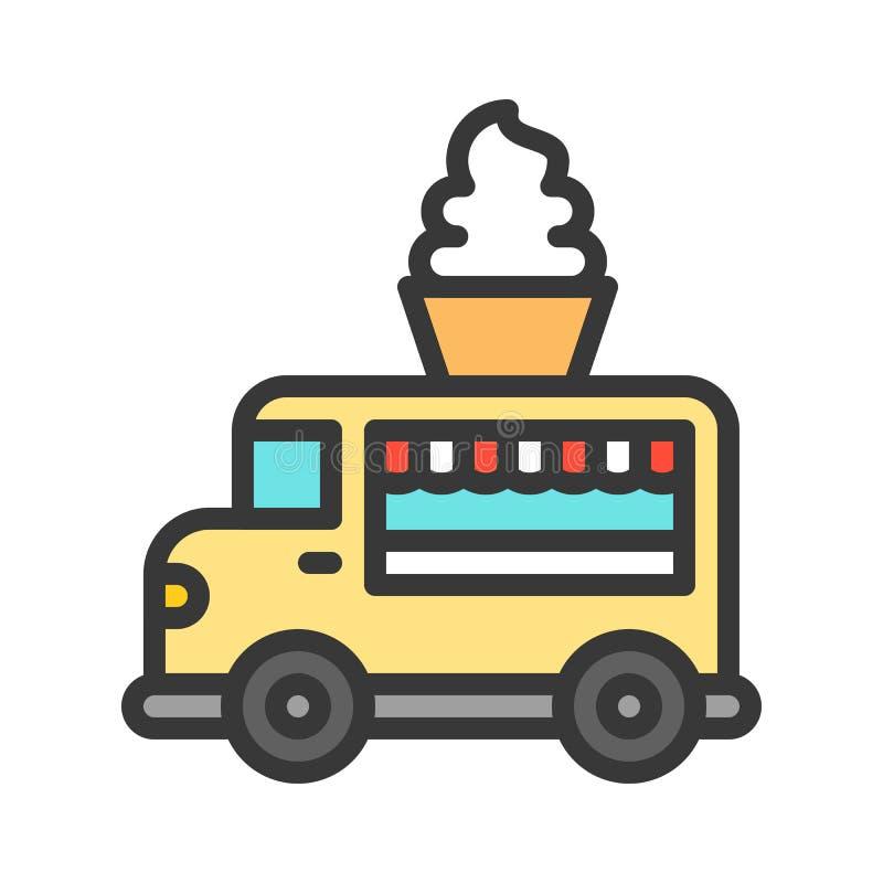 El vector suave del camión del servicio, camión de la comida llenó el icono editable del movimiento del estilo ilustración del vector