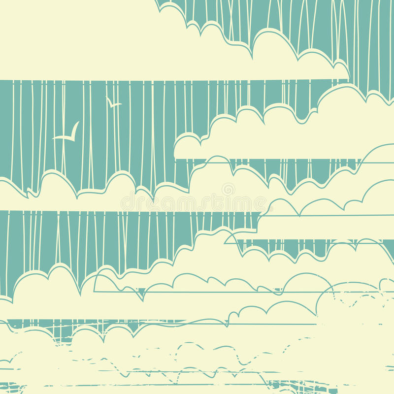 El vector sucio retro se nubla el fondo libre illustration