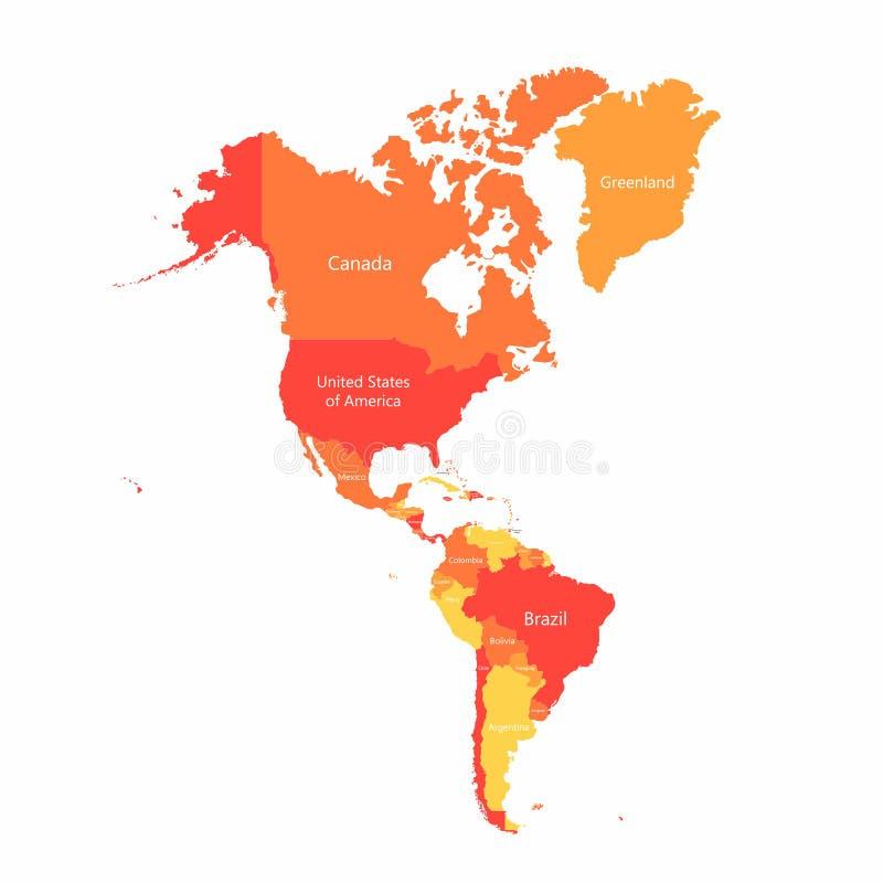 El vector Suramérica y Norteamérica traza con las fronteras de los países Países americanos rojos y amarillos abstractos en mapa stock de ilustración