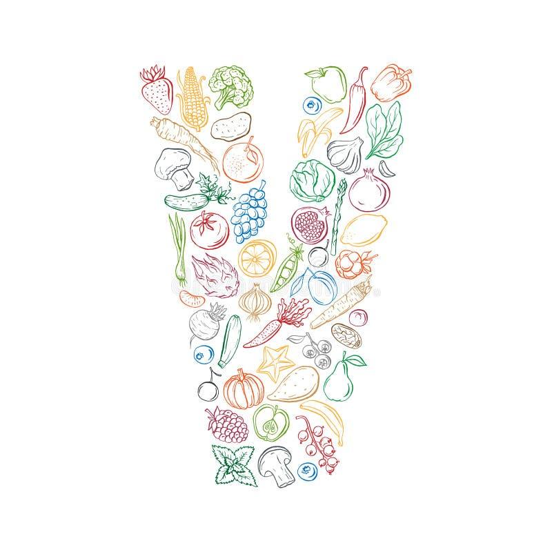 El vegano relacionó la impresión de la camiseta hecha de verduras, de frutas y de bayas Ejemplo del vector de la tinta ilustración del vector