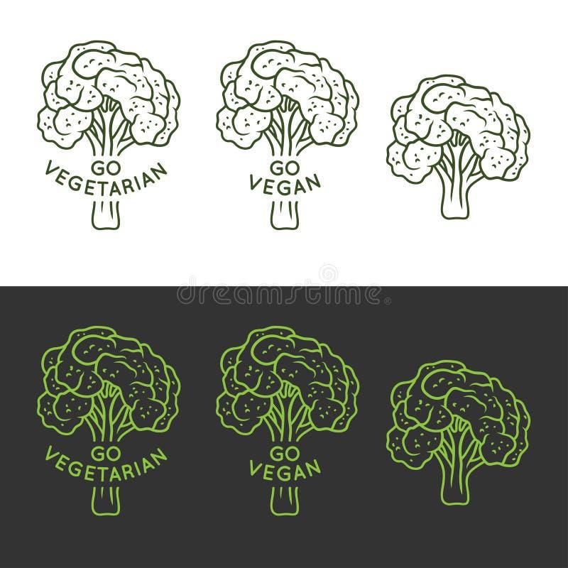 El vegano relacionó la impresión dibujada mano de la camiseta con brocoli y cita Va el vegano Ilustración del vector ilustración del vector