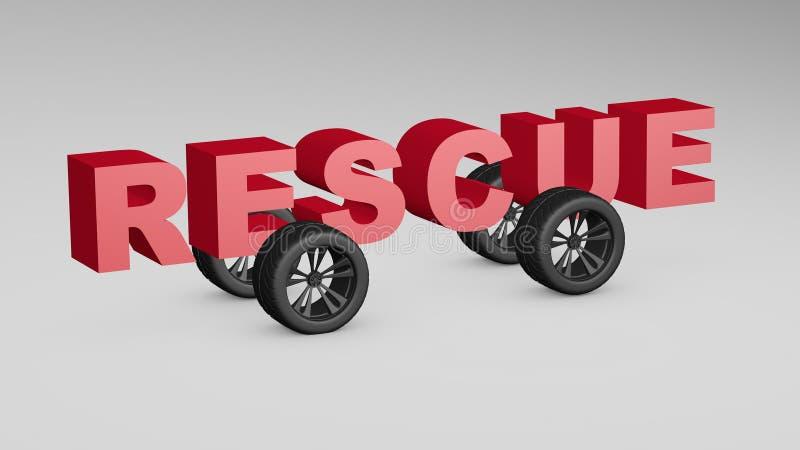 El vehículo de rescate de los servicios 3d del camino rinde el ejemplo ilustración del vector