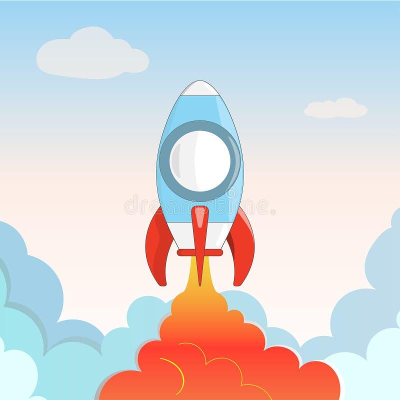 El vehículo espacial de la historieta se eleva en el cielo y las nubes fotografía de archivo