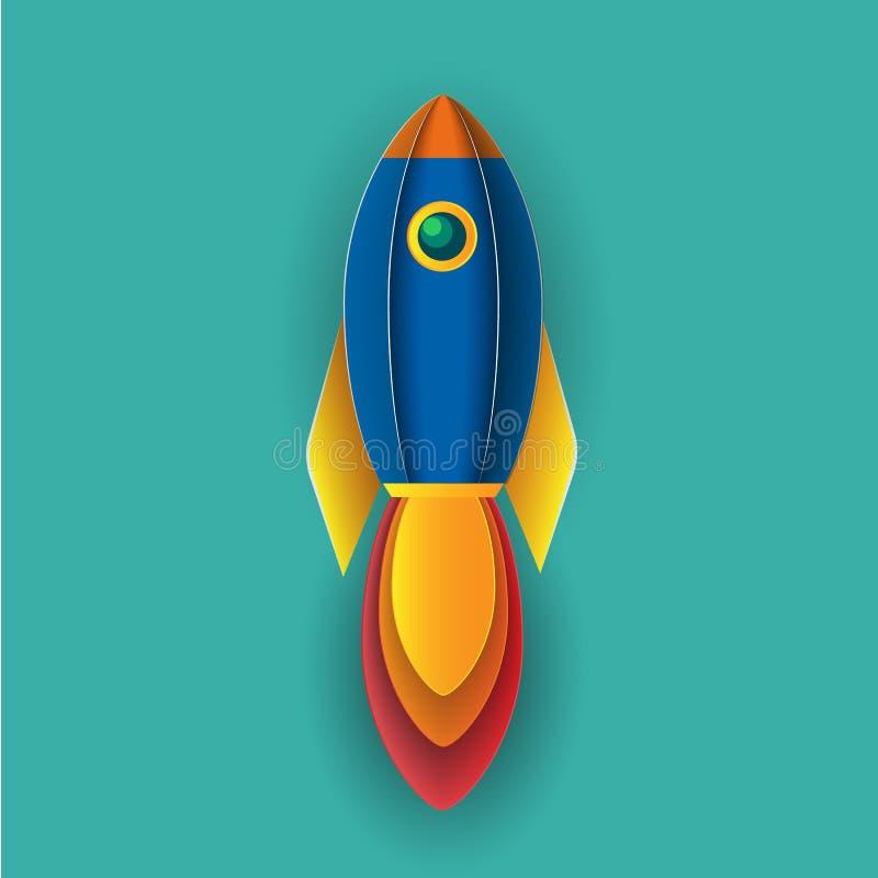 El vehículo espacial del cohete de la historieta saca stock de ilustración