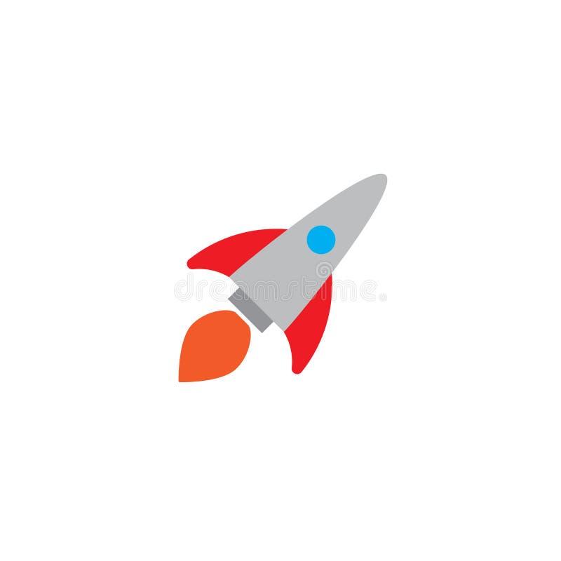 El vehículo espacial del cohete de la historieta saca, ejemplo aislado del vector Icono retro simple de la nave espacial libre illustration