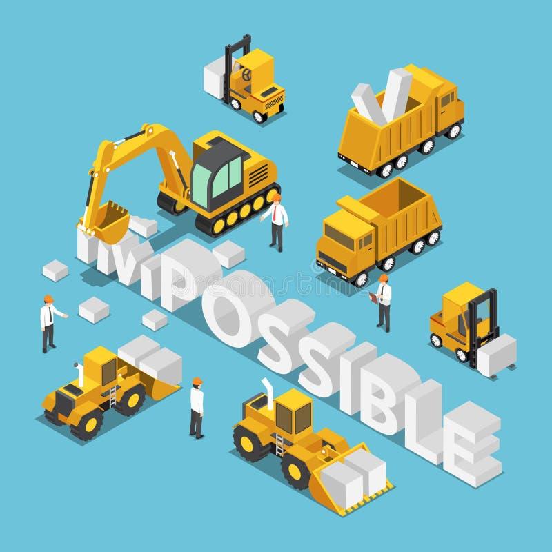 El vehículo isométrico del emplazamiento de la obra destruye y cambia la palabra ilustración del vector