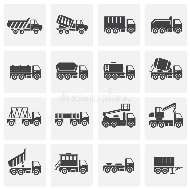 El vehículo pesado relacionó los iconos fijados en el fondo para el gráfico y el diseño web Ilustraci?n simple S?mbolo del concep ilustración del vector