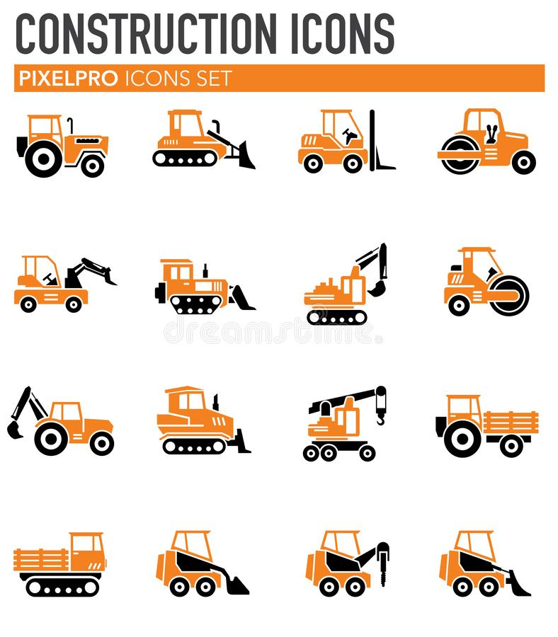 El vehículo pesado relacionó los iconos fijados en el fondo para el gráfico y el diseño web Ilustraci?n simple S?mbolo del concep libre illustration