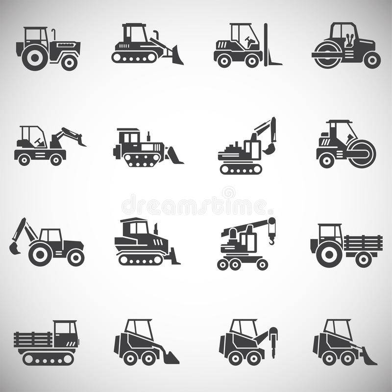 El vehículo pesado relacionó los iconos fijados en el fondo para el gráfico y el diseño web Ilustraci?n simple S?mbolo del concep stock de ilustración