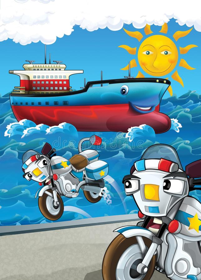 El vehículo y la nave - ejemplo para los niños stock de ilustración